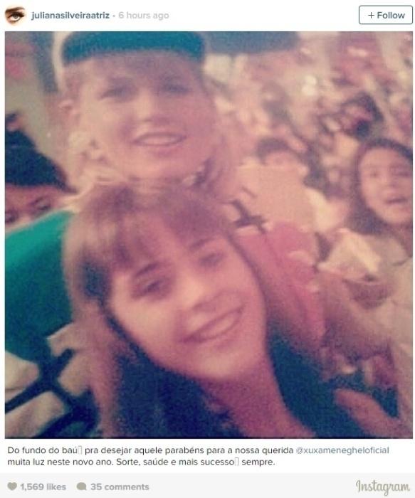 """27.mar.2015 - Juliana Silveira também desejou felicidades à Xuxa. Em foto publicada no Instagram, a atriz de 35 anos elogiou a apresentadora. """"Sorte, saúde e mais sucesso sempre"""", afirmou ela na legenda"""