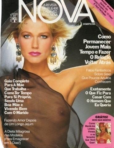 2.abr.2015 - Já esta capa antiga da revista Nova traz os seios de Xuxa, que ficaram visíveis por conta da transparência da roupa da apresentadora