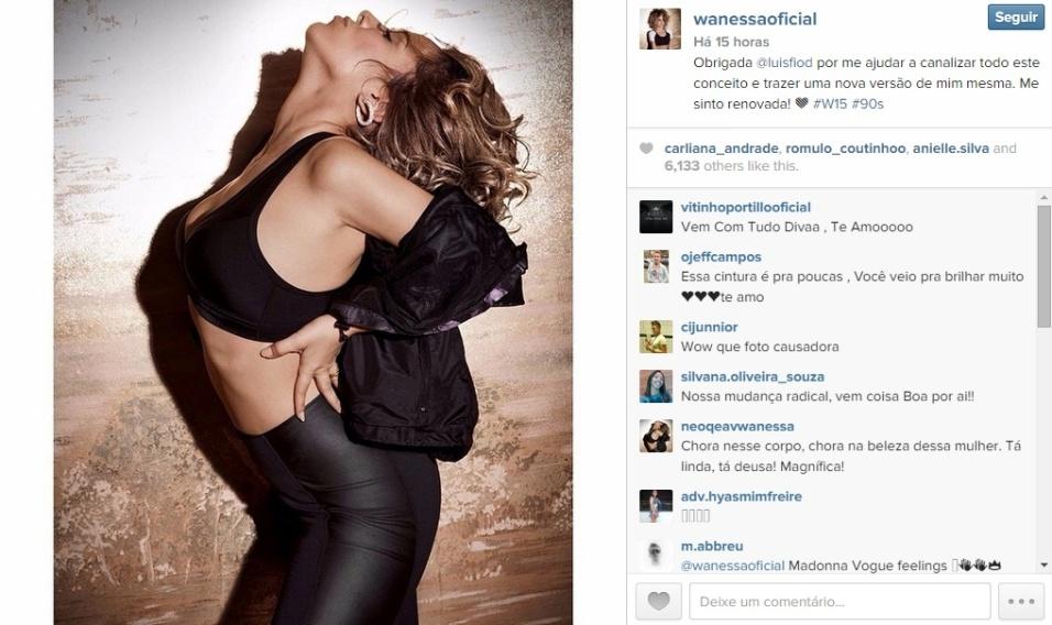 """15.mai.2015 - A cantora Wanessa Camargo publicou três fotos no Instagram nesta quinta-feira mostrando o seu novo visual e, apesar de parte dos fãs continuar criticando o corte de cabelo, Wanessa mostrou que os comentários não a abalaram. """"Se preocupar com o que os outros pensam é a morte do artista"""", disse a artista no Twitter."""