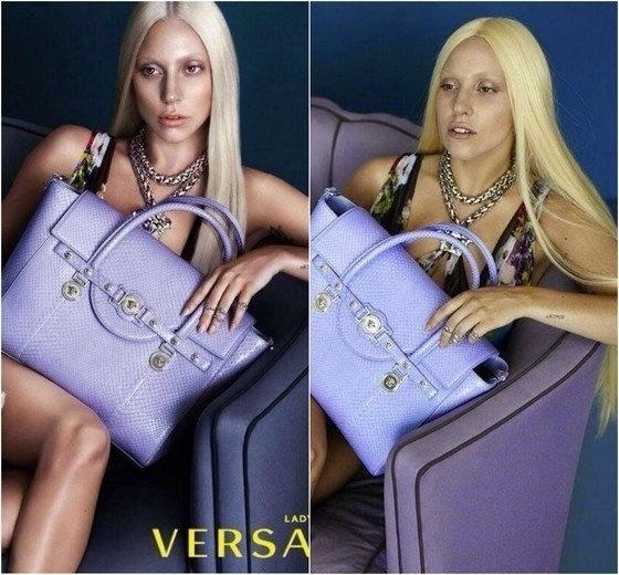 20.mai.2015 - Em uma campanha para a famosa loja de moda Versace, feita em 2013, Lady Gaga teve o tom de pele modificado, o nariz afinado e o cabelo totalmente retocado.