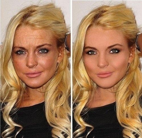 20.mai.2015 - Lindsay Lohan rejuvenesceu alguns anos após a edição no Photoshop. A imagem à direita mostra a atriz de 28 anos com mudanças drásticas na testa, nos olhos, nas sobrancelhas e até na boca