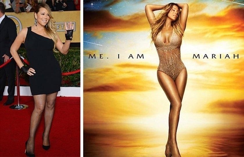 20.mai.2015 - Mariah Carey parece ter perdido alguns quilos na imagem à direita, que é a foto de capa do 14° álbum de estúdio da cantora, lançado em 2014. A diferença na largura do quadril impressiona