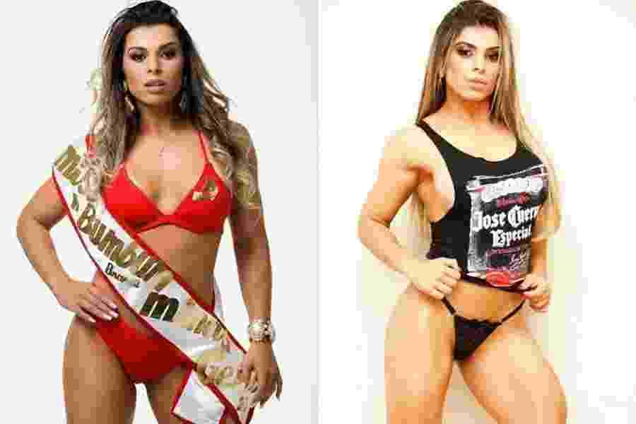 """2.jun.2015 - Após participar do Miss Bumbum 2014 (à esquerda), Vívian Cristinelle, representante de Minas Gerais no concurso, decidiu investir na carreira de atleta fitness. A modelo mudou toda a sua rotina em busca do corpo perfeito. Hoje, com apenas 8% de gordura corporal, ela comemora os resultados da dieta e dos treinos (à direita). """"Foi uma escolha que fiz para a minha vida. Mudei todos os meus hábitos, modifiquei os meus treinos com acompanhamento de profissionais, alterei a dieta e foquei no meu objetivo: o de me tornar uma atleta na categoria Wellness [modalidade de fisiculturismo]. Hoje percebo que minha decisão foi certa. Estou feliz e muito realizada com os resultados de todo o meu esforço"""", ressalta - Lucas Doria / Divulgação"""