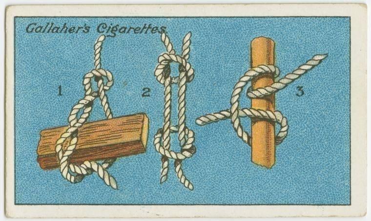 23. Como fazer três tipos de nós: o primeiro é o laço de madeira, muito útil para erguer objetos pesados; o número 2 é o nó de pescador, para ser usado quando é preciso prender firmemente duas cordas; o número 3 é o tipo cravo, que fica mais apertado conforme é puxado