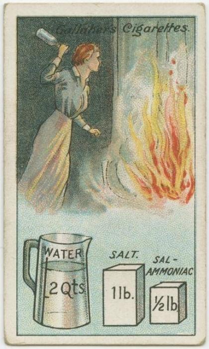 5. Como fazer um extintor caseiro (isto é apenas uma curiosidade - não se arrisque com fogo): misturar meio quilo de sal e 250 gramas de amoníaco em dois litros de água, e dividir o conteúdo em garrafas de vidro fino, e atirar as garrafas na base do incêndio. Funciona como um coquetel molotov ao contrário