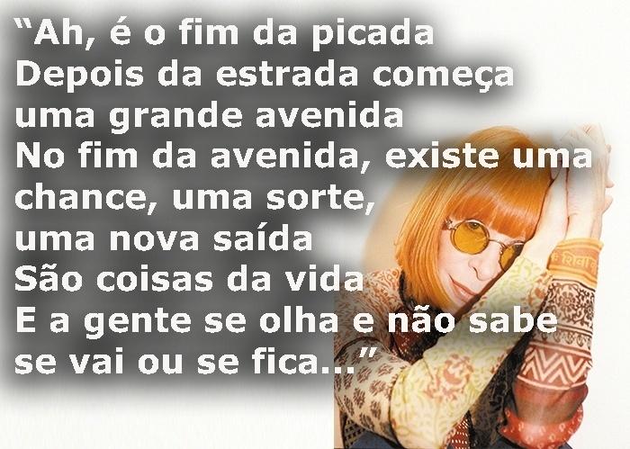 """Trecho da música """"Coisas da vida"""", de 1976; foto de Rita Lee em São Paulo (SP), em outubro de 2001"""