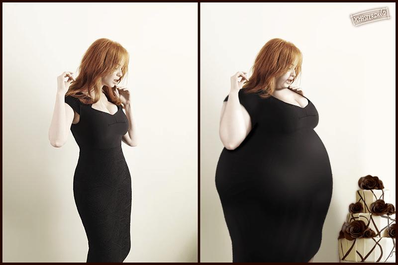 """11.dez.2015 - Nem mesmo artistas famosas por ressaltar suas curvas, como a atriz Christina Hendricks, escapam do """"Photoshop que engorda"""""""