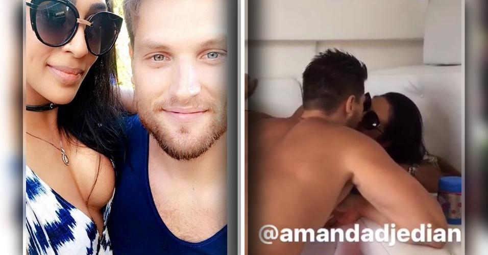 """6.abr.2017 - A ex-BBB Amanda Djehdian publicou uma foto ao lado do noivo, o empresário Mateus Hoffmann, no Instagram. No último sábado, a morena, que estava preferindo manter o relacionamento na discrição, ganhou um anel de  noivado: """"Aí você é acordada com um pedido desses e não era sonho"""", escreveu ela no Instagram ao postar um vídeo do momento."""