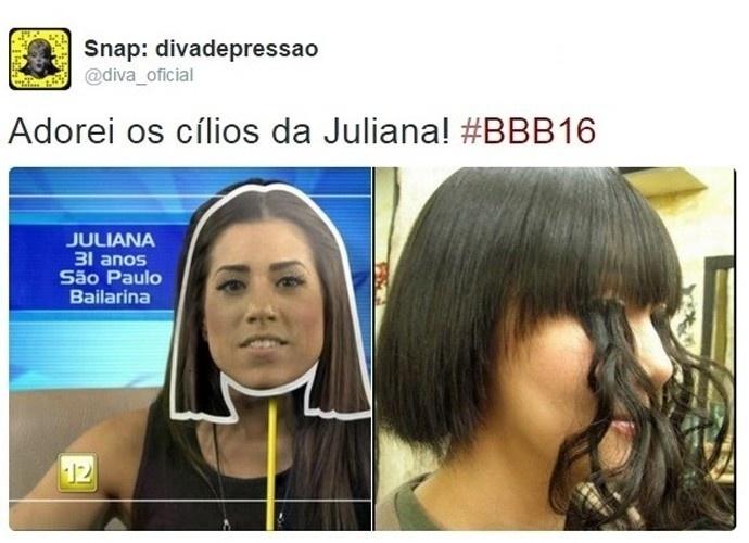 """19.jan.2016 - Internauta brinca com os longos cílios da sister Juliana. A gata ganhou um montagem """"bem cabeluda"""" nas redes sociais"""