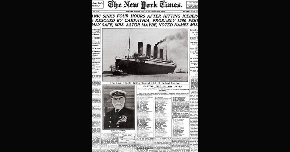 Reprodução da capa do jornal norte-americano New York Times sobre o naufrágio do Titanic, ocorrido no dia 15 de abril de 1912 (a colisão com o iceberg ocorreu na noite do dia 14)