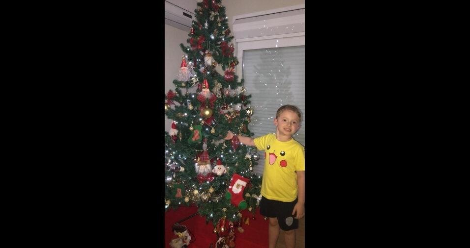 Manoel Ribas (PR) mandou foto de Mateus Maestri Perazzoli montando a árvore na casa da vovó