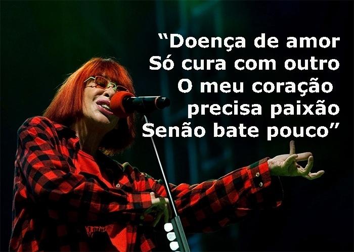 """Trecho da música """"Livre outra vez"""", de 1988; foto da cantora na Virada Cultural 2011, no centro de São Paulo (SP)"""