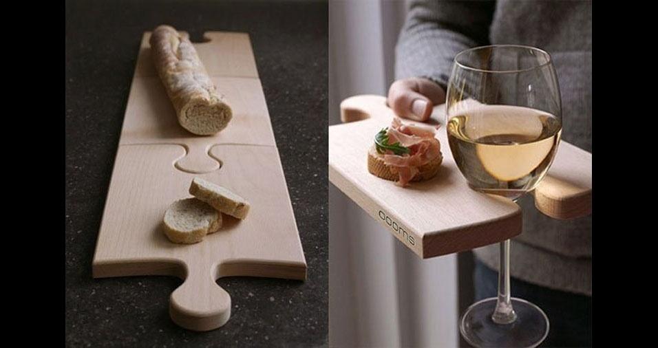 8. Com encaixe para outras tábuas ou para uma taça de vinho