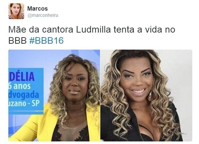 """19.jan.2016 - O """"BBB16"""" nem começou e os memes fazendo sarro com os participantes do reality já caíram na web.Neste meme, a sister Adélia é comparada com a mãe cantora de funk Ludmilla!"""