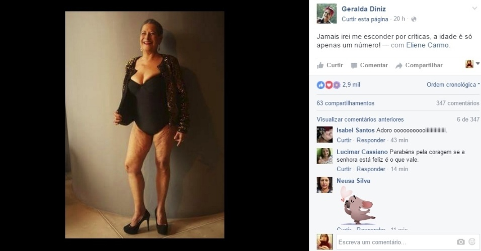 """10.mai.2016 - Dona Geralda, que participou do Big Brother Brasil 16, gostou da fama! Agora, ela acaba de protagonizar um ensaio sensual para divulgar a sua participação no concurso Miss Bumbum Melhor Idade. Aos 63 anos, Dona Geralda posou usando um maiô bastante decotado. """"Jamais irei me esconder por críticas, a idade é só apenas um número!"""", declarou a ex-BBB"""
