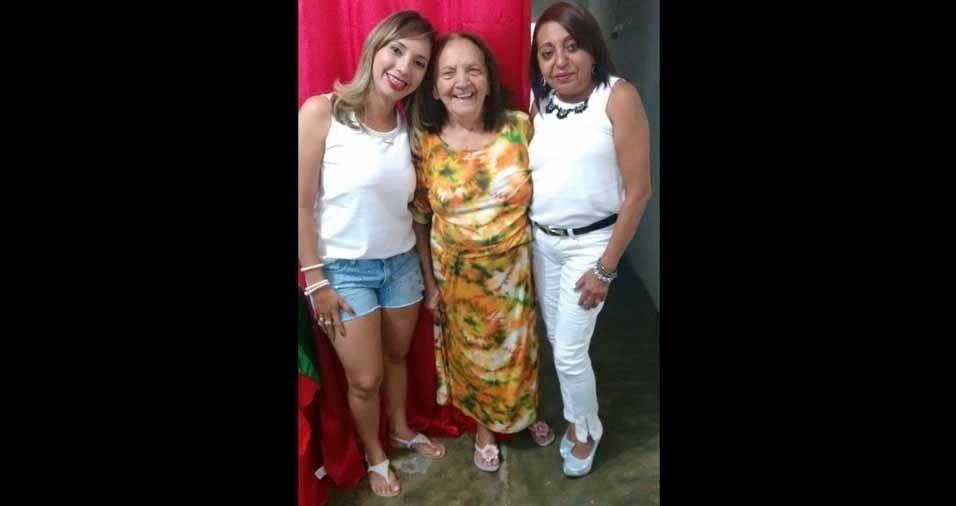Dona Maria Izolina com a neta Luana e a filha Fátima