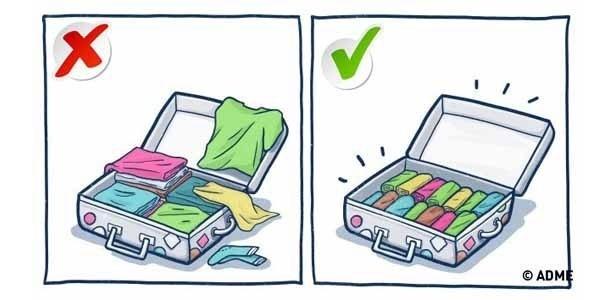 Resultado de imagem para roupas enroladas na mala