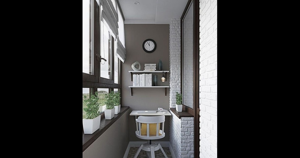 9. Nesta pequena varanda foi feito um escritório com uma pequena mantes e o beiral original da janela foi ocupado por pequenos vasos de plantasesa, prateleiras flutu