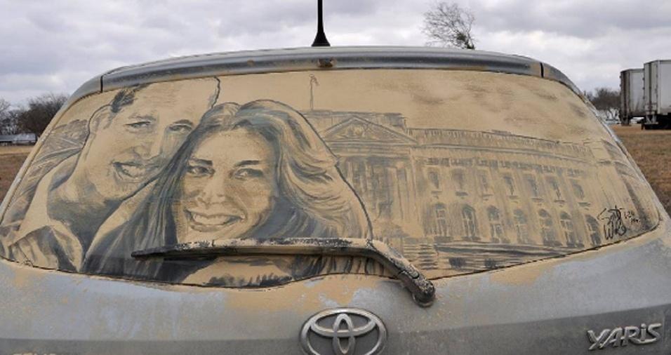 13. Uma homenagem ao casal real William e Kate é uma ideia para quem já tem muita habilidade em desenhar na sujeira