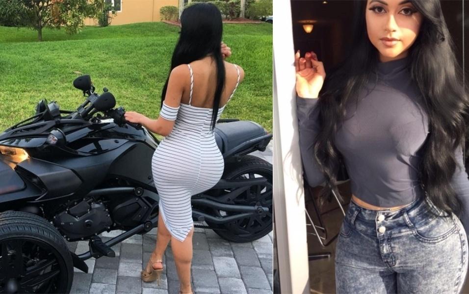 """28.jun.2017 - A modelo Jailyne Ojeda, de 20 anos, mostrou suas lindas curvas em uma foto em que aparece de costas, usando um vestido branco. """"Eu gostei dessa foto simplesmente porque minhas panturrilhas ficaram legais"""", escreveu a norte-americana na legenda da foto publicada no Instagram. No entanto, não foi só as panturrilhas da morena que chamaram a atenção dos fãs nas redes sociais. """"Estou apaixonado pelo seu bumbum"""", comentou um fã abusado, por exemplo"""