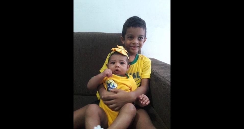 Pedro Mariel Pereira dos Santos enviou foto dos filhos Pedro Arthur e Maria Júlia, de Imperatriz (MA)