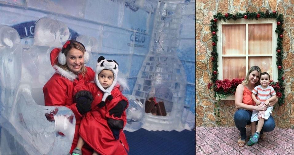 """Natasha Lobo e Theodoro, do Rio de Janeiro (RJ): """"Essa foi na Casa de Gelo do Papai Noel"""""""