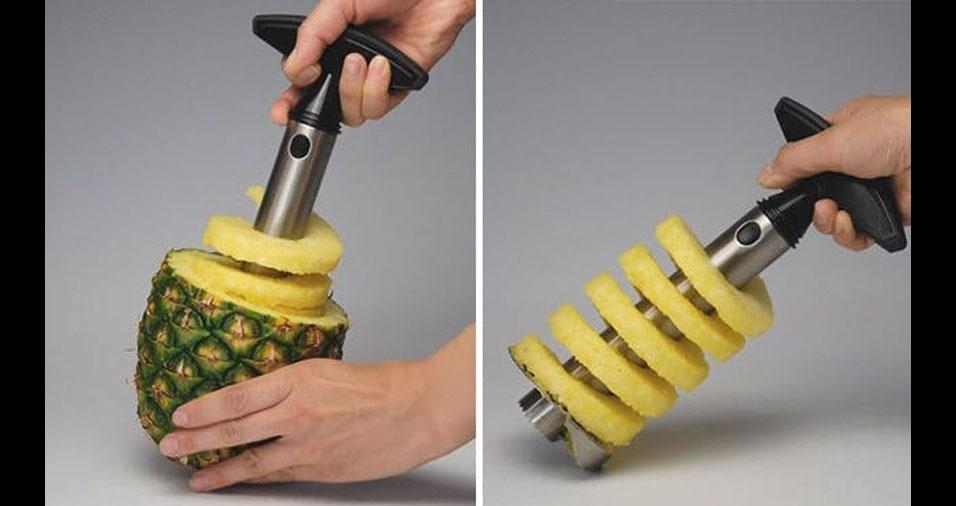 6. Fatiador e descascador de abacaxi. Retira também o miolo da fruta