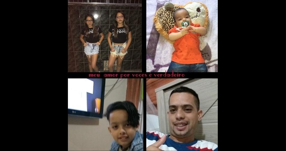 """Tiago Alexandre Alves, de São Paulo (SP), enviou foto dos quatro filhos: as gêmeas Yasmin e Emilly, o bebê Miguel e o Thiago Alex. """"Eu amo muito vocês, de verdade. Papai ama muito vocês, filhos, e eu agradeço muito a Deus por ele ter me presenteado com vocês, amores da minha vida!"""""""