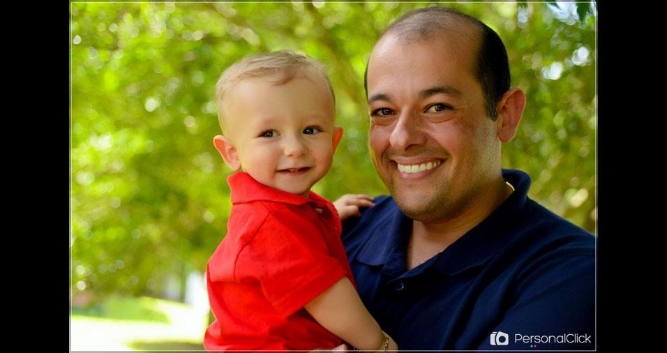 Papai Ricardo com o filho Lucas, de Marau (RS)