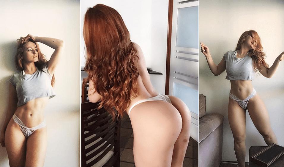 19.dez.2015 - A brasileira Raquel Duarte tem feito sucesso no Instagram com fotos sensuais e poucos retoques. Nas imagens é possível ver marcas de nascença e todas as curvas da ruiva