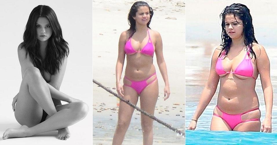 """7.out.2015 - Em entrevista à revista UsWeekly, a cantora Selena Gomez, de 23 anos, revelou que atualmente faz terapia para lidar com as críticas ao seu corpo. Selena, que recentemente ficou nua ao posar para a capa de seu novo álbum (esq.), ficou abalada quando, em maio deste ano, apareceu de biquíni com algumas """"gordurinhas"""" durante férias em praia mexicana e foi chamada de """"gorda"""" por internautas do mundo inteiro. A ex-namorada de Justin Bieber explicou que procurou ajuda profissional porque ficou muito envergonhada com seu corpo. """"Eu desembarquei num aeroporto e as pessoas diziam: 'você está tão gorda'. Isso foi tão horrível"""", desabafou a cantora. Se está ruim para ela, que foi considerada pela revista Playboy uma das latinas mais sexy do Instagram, imagina para nós..."""