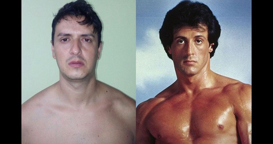 """O Fabio César Marcelino, de São José dos Campos (SP), acha que é a cara do Sylvester Stallone na época do filme """"Rocky"""""""