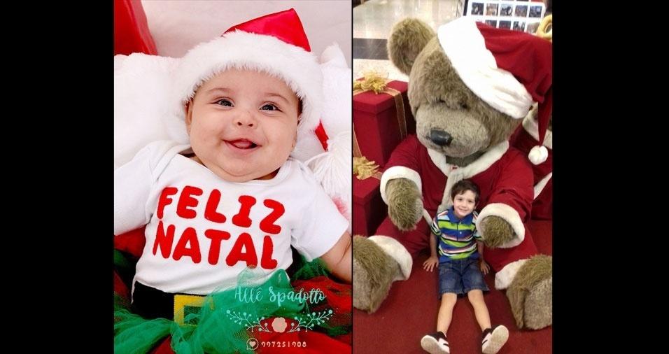 """Vovó Regina enviou foto da neta Lavínia e do neto Nicolas, de Piracicaba (SP): """"Orgulhos da vovó"""""""