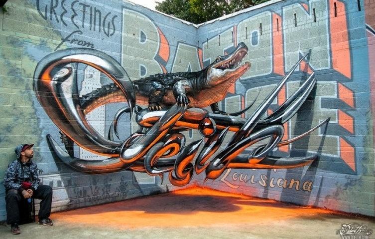 28.dez.2015 - O artista português Sergio Odeith ficou famoso em Damaia, em Portugal, por realizar trabalhos de grafite que realmente saltam aos olhos. As pinturas por muros da cidade são feitas em 3D e parecem que vão sair das paredes
