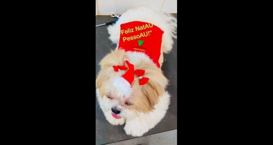 """Stefanny está desejando """"Feliz Nat-au"""" para todos do BOL!, conta a mamãe Giselle, de Ribeirão Preto (SP)"""