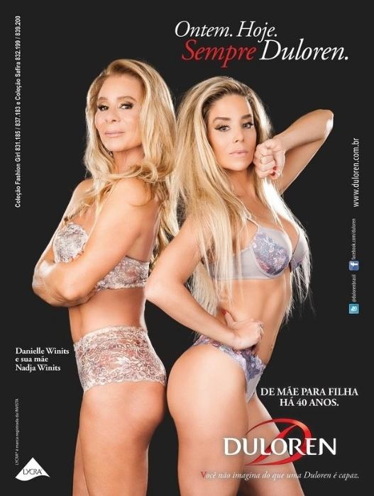 5.abr.2016 - Danielle Winits, 42, e sua mãe, Nadja Winits, de 63 anos, estrelam juntas a campanha de uma marca de lingerie. As duas chamaram a atenção não só pela semelhança como também pela ótima forma física.