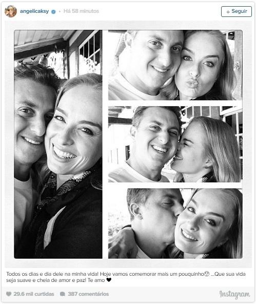 """3.set.2016 - Angélica publica uma homenagem ao marido, Luciano Huck, no dia do aniversário de 45 anos do apresentador: """"Todos os dias e dia dele na minha vida! Hoje vamos comemorar mais um pouquinho???? ...Que sua vida seja suave e cheia de amor e paz! Te amo"""", escreveu abaixo da imagem com fotos do casal no Instagram"""