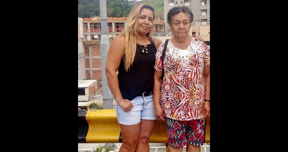 Eliana Alves enviou a foto com a mãe Edite, de Contagem (MG)