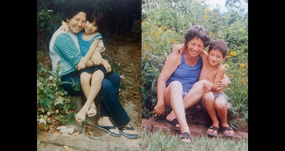 """Tatiane homenageia a mãe: """"Minha mãe se chamava Lourdes, faleceu em 2014. Na foto antiga estou eu e meu irmão."""""""
