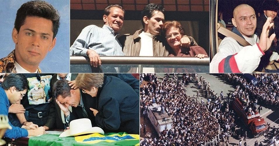23.jun.1998 - O cantor Leandro, da dupla sertaneja Leandro & Leonardo, morreu aos 36 anos, vítima de câncer no pulmão. Leandro havia descoberto o câncer, um tipo raro conhecido como tumor de Askin, em abril de 1998. Após apenas três meses fazendo tratamento com quimioterapia, o cantor perdeu a batalha para a doença. Leandro foi velado, primeiramente, na Assembleia Legislativa de São Paulo. Depois, o corpo do cantor seguiu para Goiânia, onde foi enterrado. Estima-se que 300 mil pessoas acompanharam o cortejo fúnebre