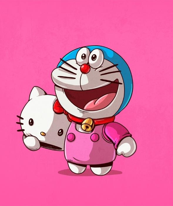 21.out.2015 - Já entre os gatos fofinhos, Alex Solis desenhou Hello Kitty como a identidade secreta de outro gato nipônico, o Doraemon