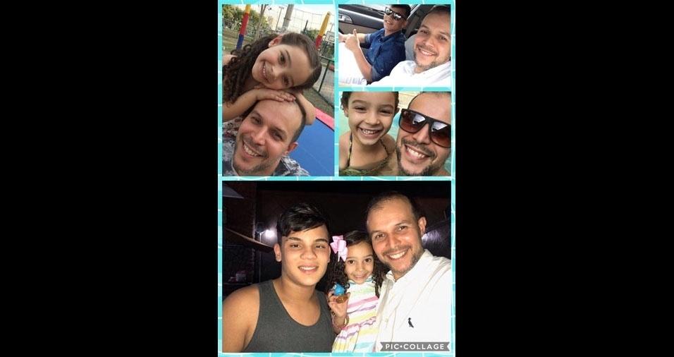 Papai Eduardo Santos com os filhos Enzo e Sophia