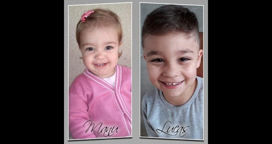 Gabriela Gasparelli dos Santos, de São Roque (SP), enviou foto dos filhos Lucas Kauã e Manuella