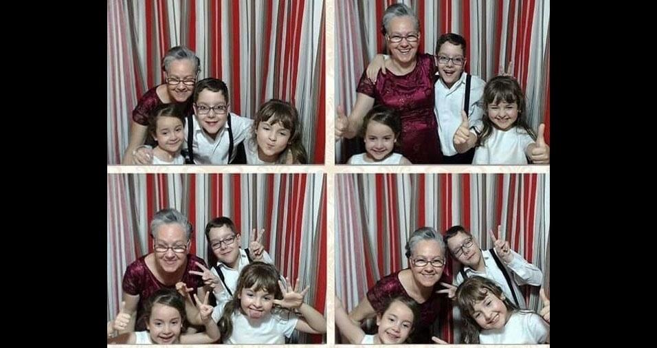 Vovó Juçara com os netos Matheus, de Porto Alegre (RS), Alice e Eduarda, de Rio Grande (RS)