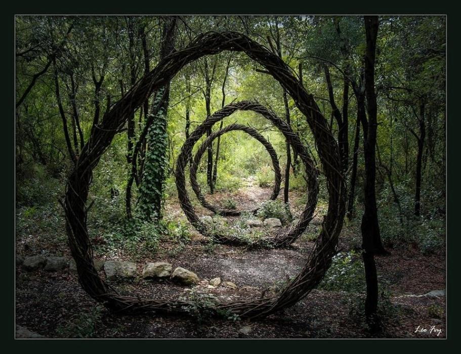 Obra do escultor Spencer Byles, especialista em trabalhar com galhos e plantas em florestas, na França