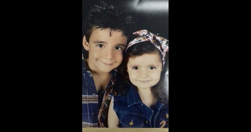 Luana, de Jacareí (SP), enviou foto dos filhos Davi, de sete anos, e Valentina, de três anos