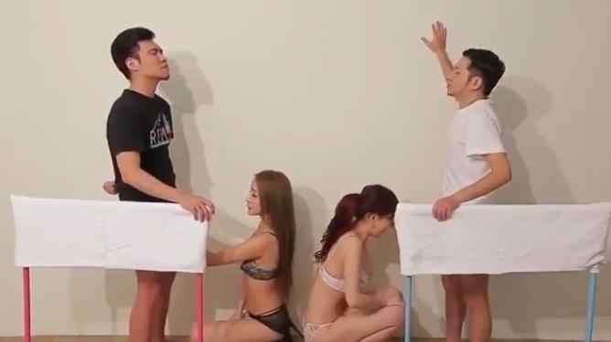 8.jul.2015 - Na imagem, o início da competição de masturbação. A atração é exibida no canal adulto BS Sky Cable, da TV japonesa. Ganha quem fizer o participante ejacular primeiro