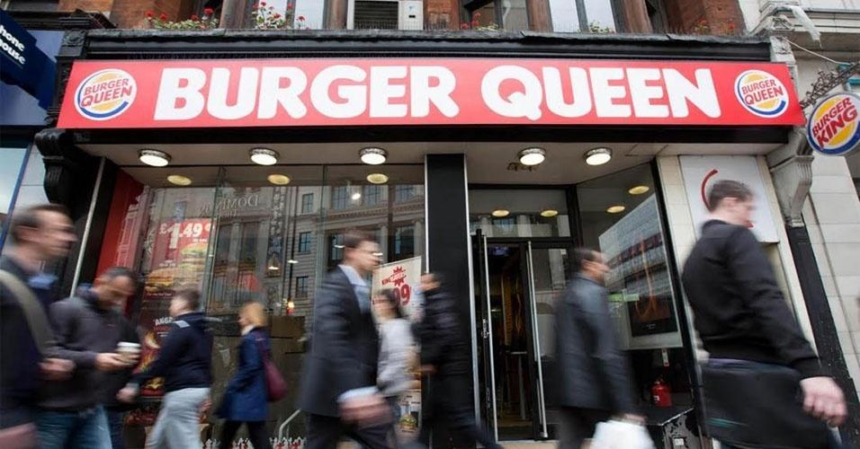 """Bônus: para comemorar os 90 anos da rainha, uma lanchonete da rede Burger King, em Londres, mudou o letreiro em sua fachada para """"Burger Queen"""". King signfica rei, e queen, rainha"""
