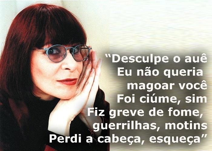 """Trecho da música """"Desculpe o auê"""", de 1983; foto da cantora em novembro de 1997"""