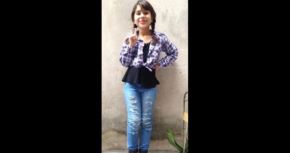 Livia de Souza Figueiredo, oito anos, de Guarulhos (SP), em foto enviada pelo papai  Luciano Arantes Figueiredo